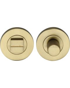 Bathroom Turn & Release Set With Knurled Knob - Satin Brass