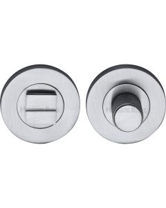 Bathroom Turn & Release Set With Knurled Knob - Satin Chrome