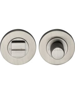 Bathroom Turn & Release Set With Knurled Knob - Satin Nickel
