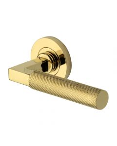 Knurled Round Rose Lever Handles Only - Polished Brass - Pair