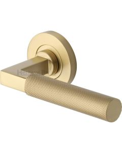 Knurled Round Rose Lever Handles Only - Satin Brass - Pair