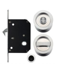 Bathroom Hook Lock For Sliding Pocket Doors - With Turn And Release - Satin Chrome