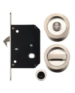 Bathroom Hook Lock For Sliding Pocket Doors - With Turn And Release - Satin Nickel