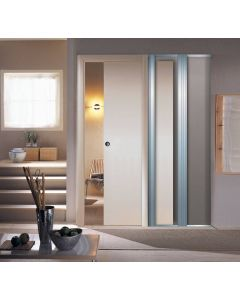 Scrigno Adjustable Sliding Pocket Door Kit - Single Door Kit - 125mm Finished Wall Thickness - Supplied With White Melamine Jamb Kit