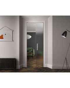 Scrigno Sliding Pocket Door Cassette System - Single Glass Door Kit - 125mm Finished Wall Thickness