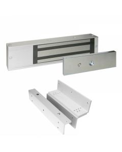 Slimline Single Electro Magnetic Lock - Unmonitored - Grade 2 - Supplied With Z & L Brackets - Satin Stainless Steel