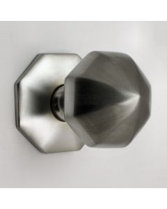 Traditional Small Faceted Style Centre Door Knob - Satin Chrome