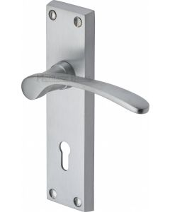 Sophia Lever Door Handles On A Backplate - Satin Chrome - Suitable For Use With FD30 / FD60 Fire Doors