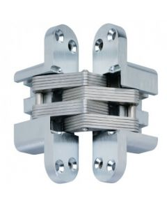 Concealed SOSS Style Hinges - 115.8mm x 24.7mm - Satin Chrome