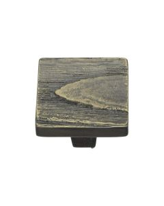 Square Bark Pattern Cupboard Knob - Available In Two Sizes - Aged Brass