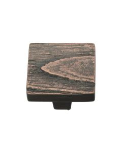 Square Bark Pattern Cupboard Knob - Available In Two Sizes - Aged Copper