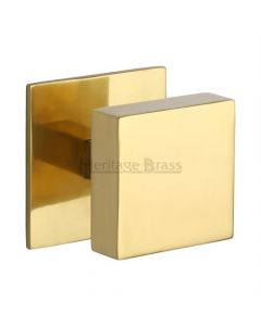 Traditional Square Centre Door Knob- Polished Brass