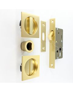 Square Design Bathroom Hook Lock For Sliding Pocket Doors - With Turn And Release - Satin Brass