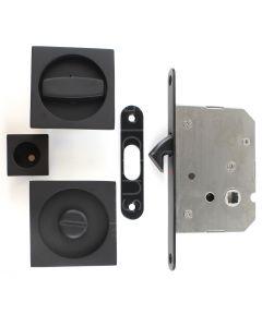 Square Design Bathroom Hook Lock For Sliding Pocket Doors - With Turn And Release - Matt Black