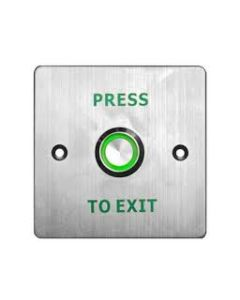 "Square ""PRESS TO EXIT"" Switch With Green LED - Flush - Satin Stainless Steel"