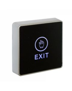 "Square ""EXIT"" Architectural Touch Sensitive Exit Button - Black with Blue LED"