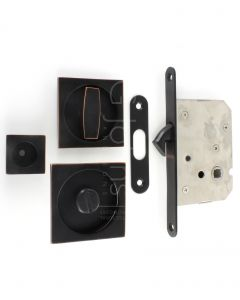 Square Shape Bathroom Hook Lock For Sliding Pocket Doors - With Turn And Release - Oil Rubbed Dark Bronze