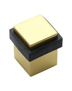 Square Floor Mounted Door Stop - Polished Brass
