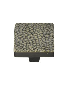 Square Stingray Pattern Cupboard Knob - Available In Two Sizes - Aged Brass