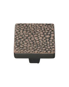Square Stingray Pattern Cupboard Knob - Available In Two Sizes - Aged Copper
