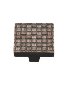 Square Weaved Pattern Cupboard Knob - Available In Two Sizes - Aged Copper