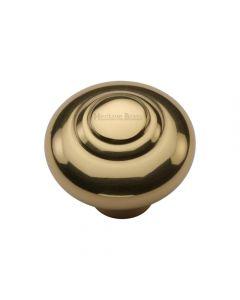 Stepped Pattern Round Cupboard Knob - Polished Brass