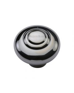 Stepped Pattern Round Cupboard Knob - Polished Chrome