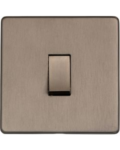 Studio Concealed Fix Plate Light Switch & Socket Range - Flat Screwless Plate With Rounded Edges - Aged Pewter