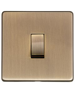 Studio Concealed Fix Plate Light Switch & Socket Range - Flat Screwless Plate With Rounded Edges - Antique Brass