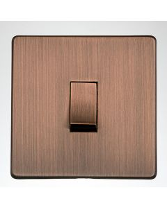 Studio Concealed Fix Plate Light Switch & Socket Range - Flat Screwless Plate With Rounded Edges - Antique Copper
