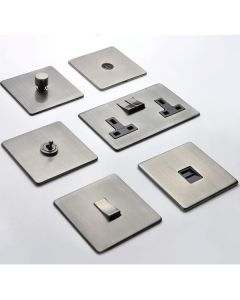 Studio Concealed Fix Plate Light Switch & Socket Range - Flat Screwless Plate With Rounded Edges - Antique Pewter