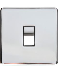 1 Gang Light Switch - Studio Concealed Fix Plate Light Switch & Socket Range - Flat Screwless Plate With Rounded Edges - Polished Chrome