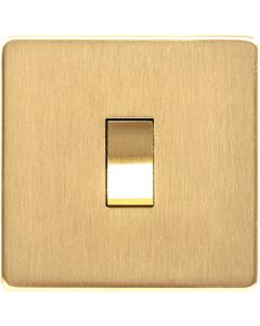 Studio Concealed Fix Plate Light Switch & Socket Range - Flat Screwless Plate With Rounded Edges - Satin Brass