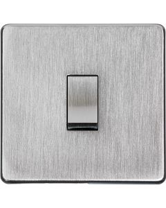 1 Gang Light Switch - Studio Concealed Fix Plate Light Switch & Socket Range - Flat Screwless Plate With Rounded Edges - Satin Chrome
