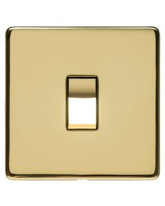 Single Light Switch - Studio Concealed Fix Range - Flat Screwless Plate With Rounded Edges - Polished Brass