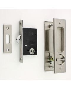 Bathroom Hook Lock Set With Turn And Release & Rectangular Flush Pull For Sliding Pocket Doors - Satin Nickel