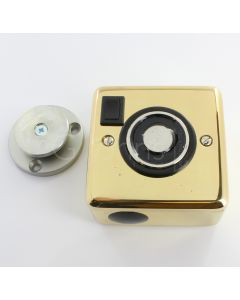 Surface Mounted Electro-Magnetic Fire Door Holder - 24v DC - With Manual On / Off Switch - Supplied With Armature Plate - Polished Brass Plated