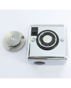 Surface Mounted Electro-Magnetic Fire Door Holder - 24v DC - With Manual On / Off Switch - Supplied With Armature Plate - Polished Chrome Finish