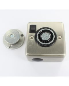 Surface Mounted Electro-Magnetic Fire Door Holder - 24v DC - With Manual On / Off Switch - Supplied With Armature Plate - Satin Nickel Finish