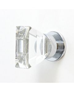 Swarovski Crystal Squared Cupboard / Drawer Knob - 16mm x 30mm - Polished Chrome