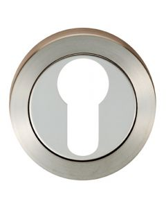 Euro Round Profile Escutcheon - Dual Finish - Polished and Satin Stainless Steel