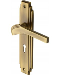 Tiffany Lever Door Handles On A Backplate - Antique Brass - Suitable For Use With FD30 / FD60 Fire Doors