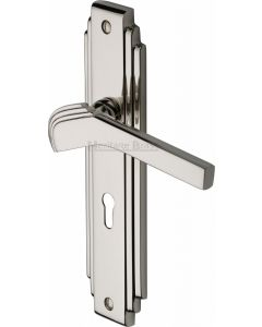 Tiffany Lever Door Handles On A Backplate - Polished Nickel - Suitable For Use With FD30 / FD60 Fire Doors