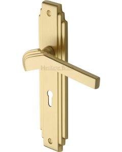 Tiffany Lever Door Handles On A Backplate - Satin Brass - Suitable For Use With FD30 / FD60 Fire Doors