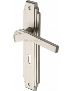 Tiffany Lever Door Handles On A Backplate - Satin Nickel - Suitable For Use With FD30 / FD60 Fire Doors