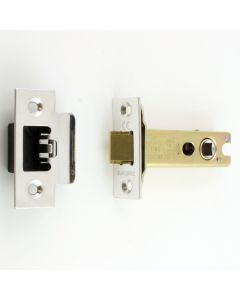 Double Sprung Tubular Mortice Latch - Deep Latch For Use With Door Knobs - Polished Stainless Steel