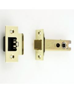 Heavy Duty Double Sprung Tubular Mortice Latch - Deep Latch For Use With Door Knobs - PVD Brass