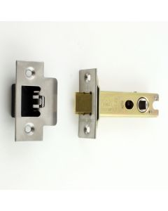 Heavy Duty Double Sprung Tubular Mortice Latch - Deep Latch For Use With Door Knobs - Satin Stainless Steel