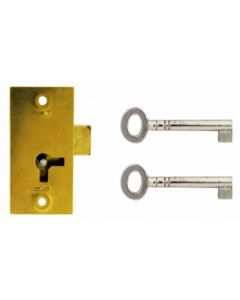 Traditional 1 Lever Straight Cupboard Lock With Key - Brass