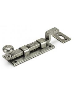 Traditional Pattern Cranked Design Door Bolt - Two Sizes Available - Pewter